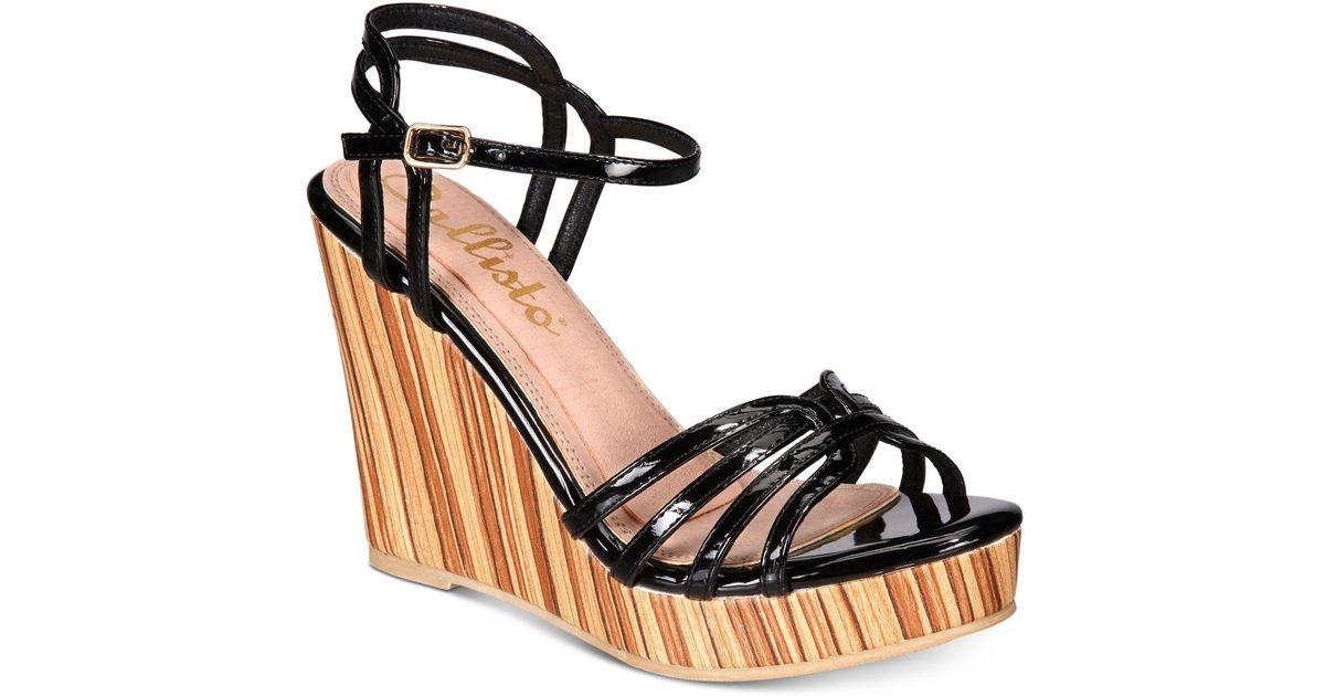 936c5fc05286 Lyst - Callisto Brush Strappy Wedge Sandals in Black - Save 19%