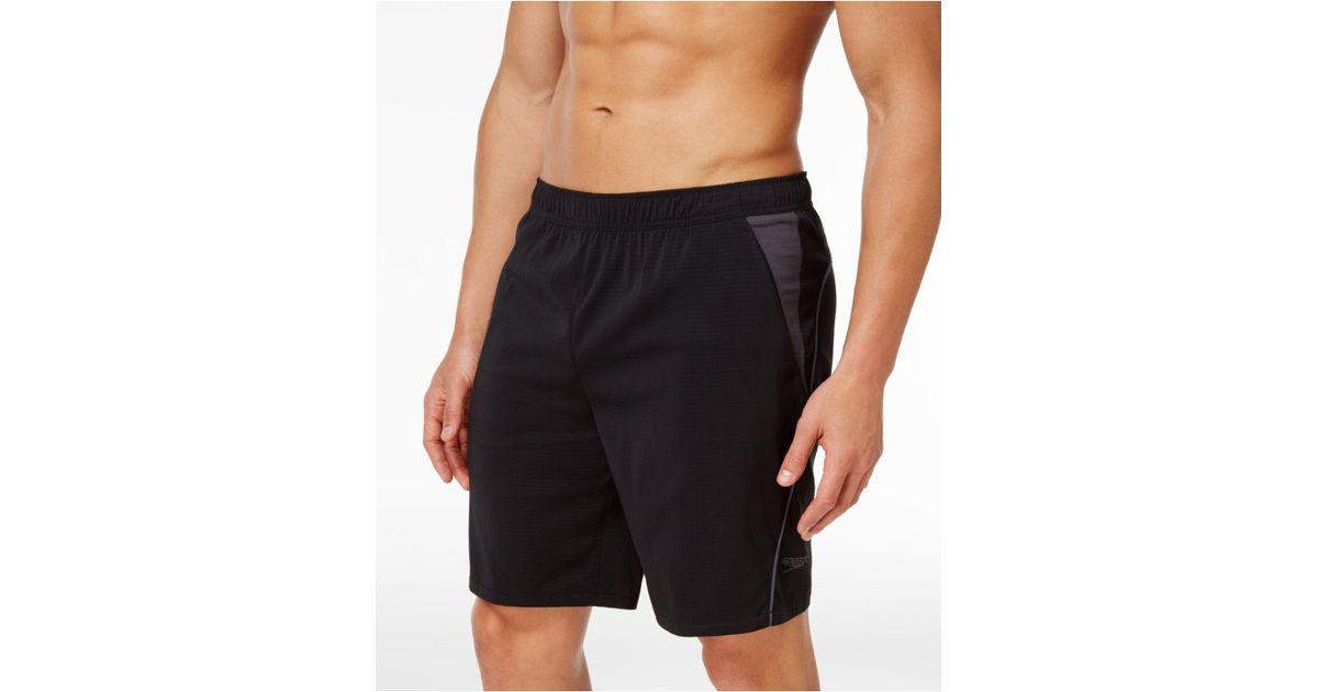 c556df1b9c Lyst - Speedo Men's Sideline Tech Volley Swim Trunks in Black for Men