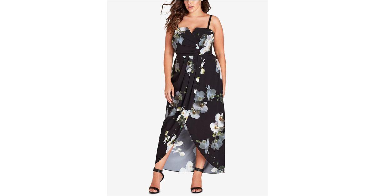 43b83e7d7e0 Lyst - City Chic Trendy Plus Size Faux-wrap Maxi Dress in Black