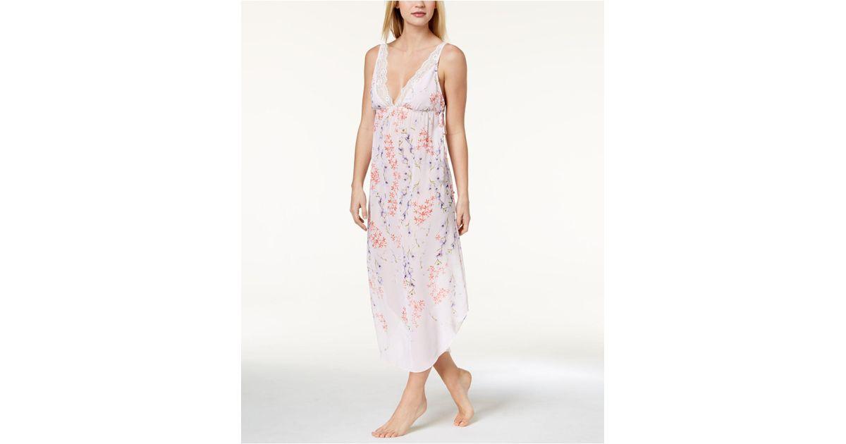 dac1b8113e Lyst - Linea Donatella Deandra Lace-trim Floral-print Nightgown in Pink