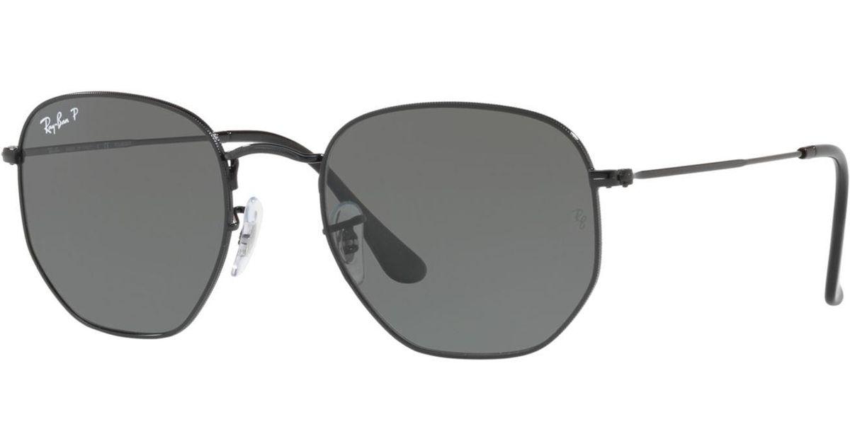 e605915cfbe0 Lyst - Ray-Ban Polarized Hexagonal Flat Lens Sunglasses