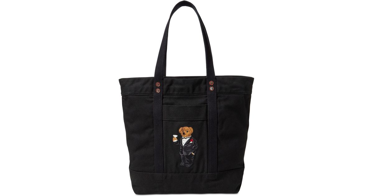 06af507ce6 Polo Ralph Lauren Polo Bear Canvas Tote in Black - Lyst