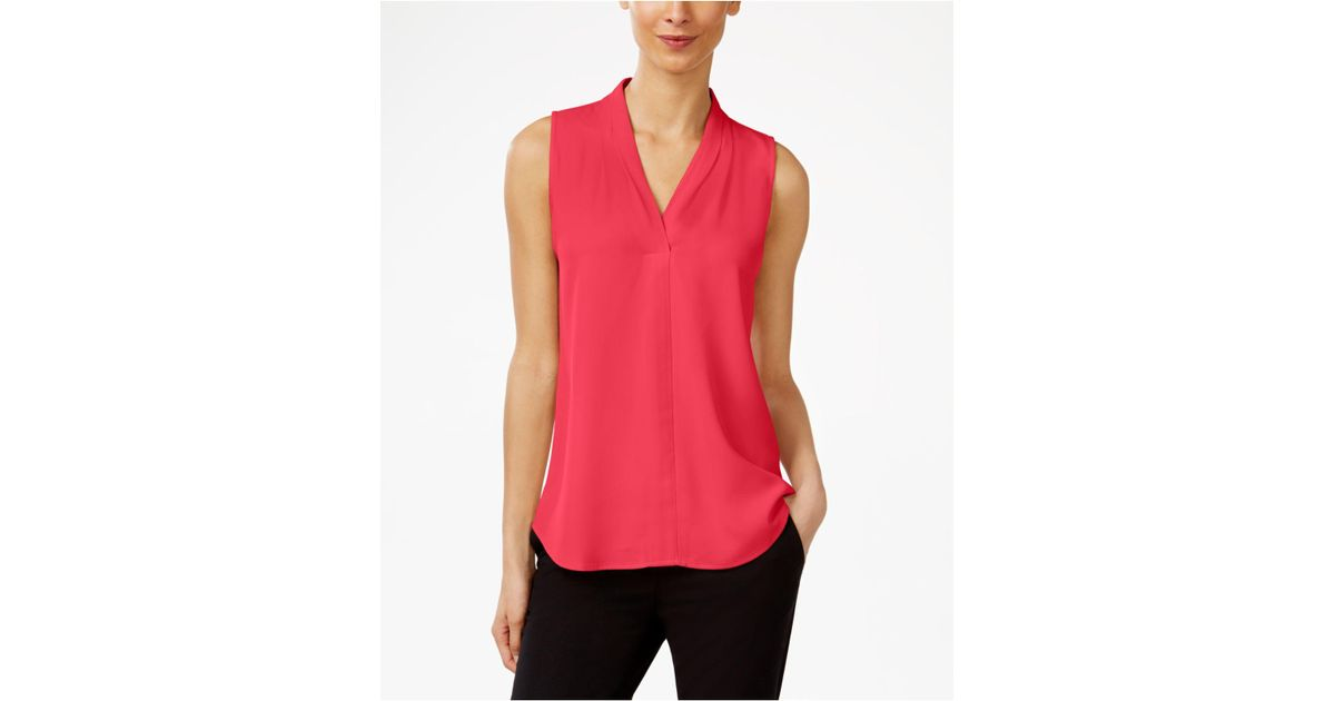 a07674994579b8 Lyst - Calvin Klein Pleated V-neck Shell in Red