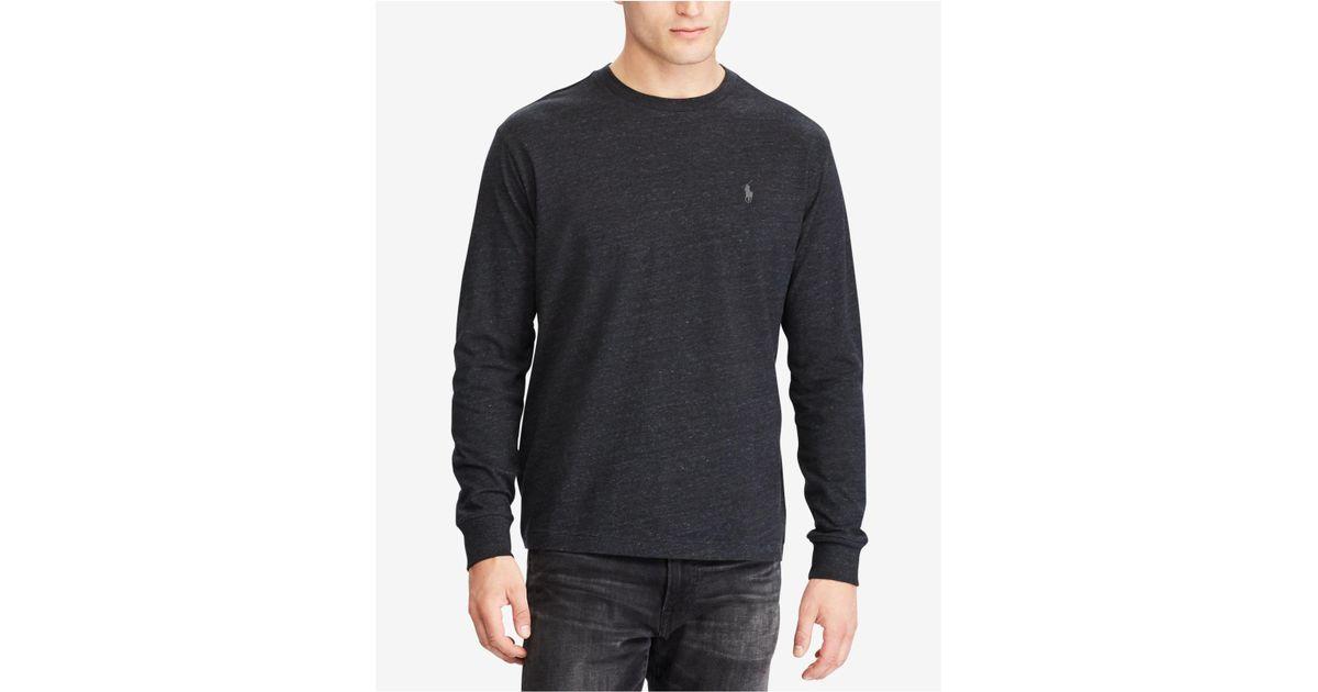 1fe2d98643e ... france lyst polo ralph lauren classic fit long sleeve t shirt in black  for men 826f3