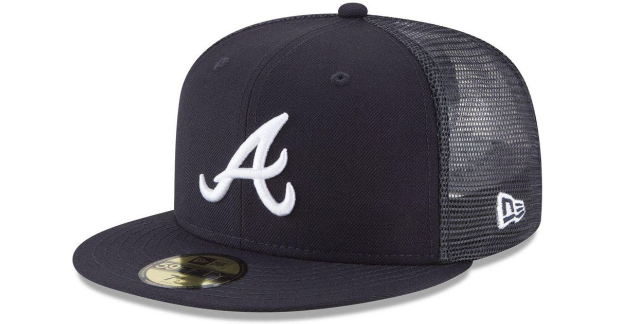 80f3cd82540 sale lyst ktz atlanta braves on field mesh back 59fifty fitted cap in blue  for men