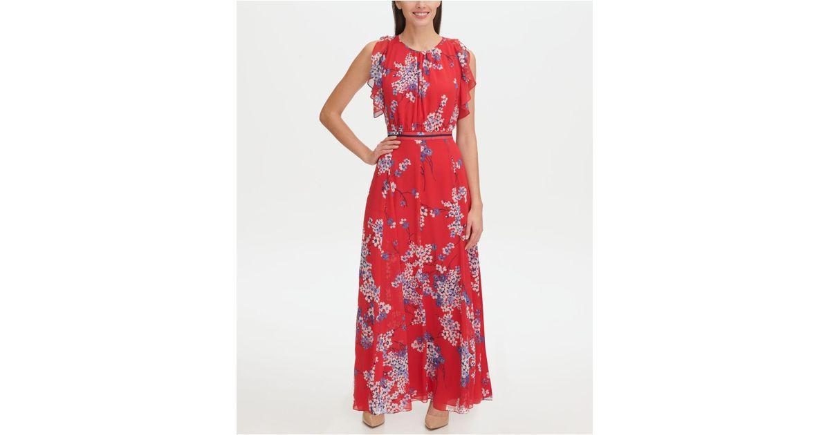 eae1baf2f969 Lyst - Tommy Hilfiger Eloise Floral Chiffon Flutter Sleeve Maxi Dress