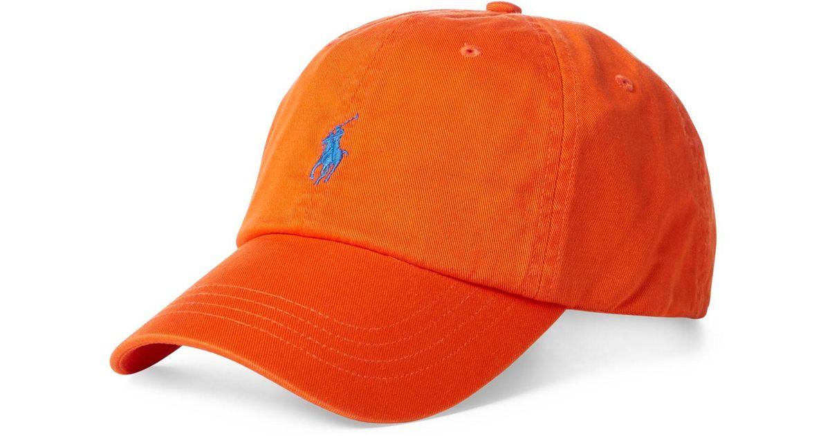 6e666fbf Polo Ralph Lauren Classic Chino Cotton Cap in Orange for Men - Save 26% -  Lyst