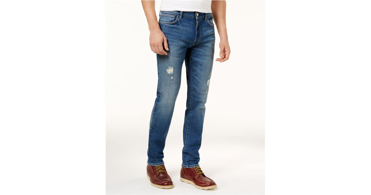 fa2cedbb9e74 Lyst - Tommy Hilfiger Mens Distressed Slim-fit Jeans in Blue for Men