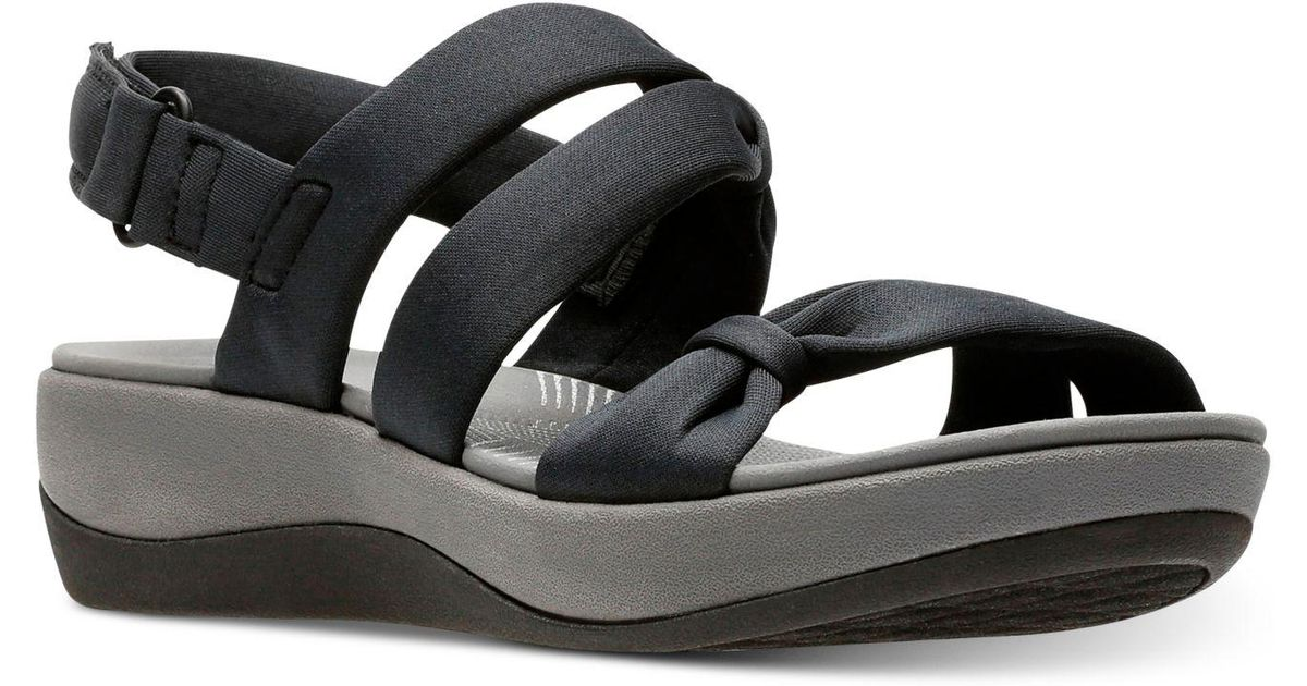 87211666c21 Lyst - Clarks Cloudsteppers Arla Mae Wedge Sandals in Black