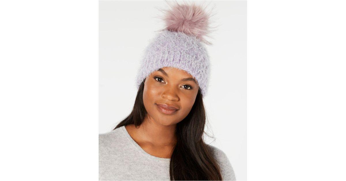 7593c012ae2 Lyst - Echo Fuzzy Cable-knit Pom Pom Hat