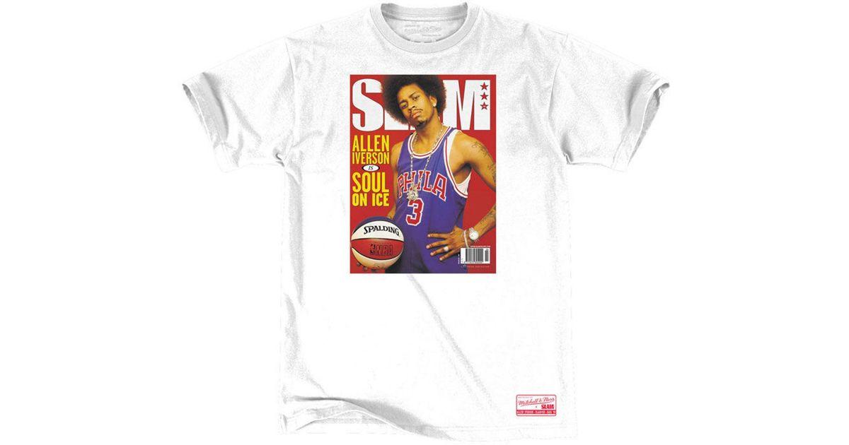 buy popular 9fa52 697f7 Mitchell & Ness - White Allen Iverson Philadelphia 76ers Slam Cover T-shirt  for Men - Lyst