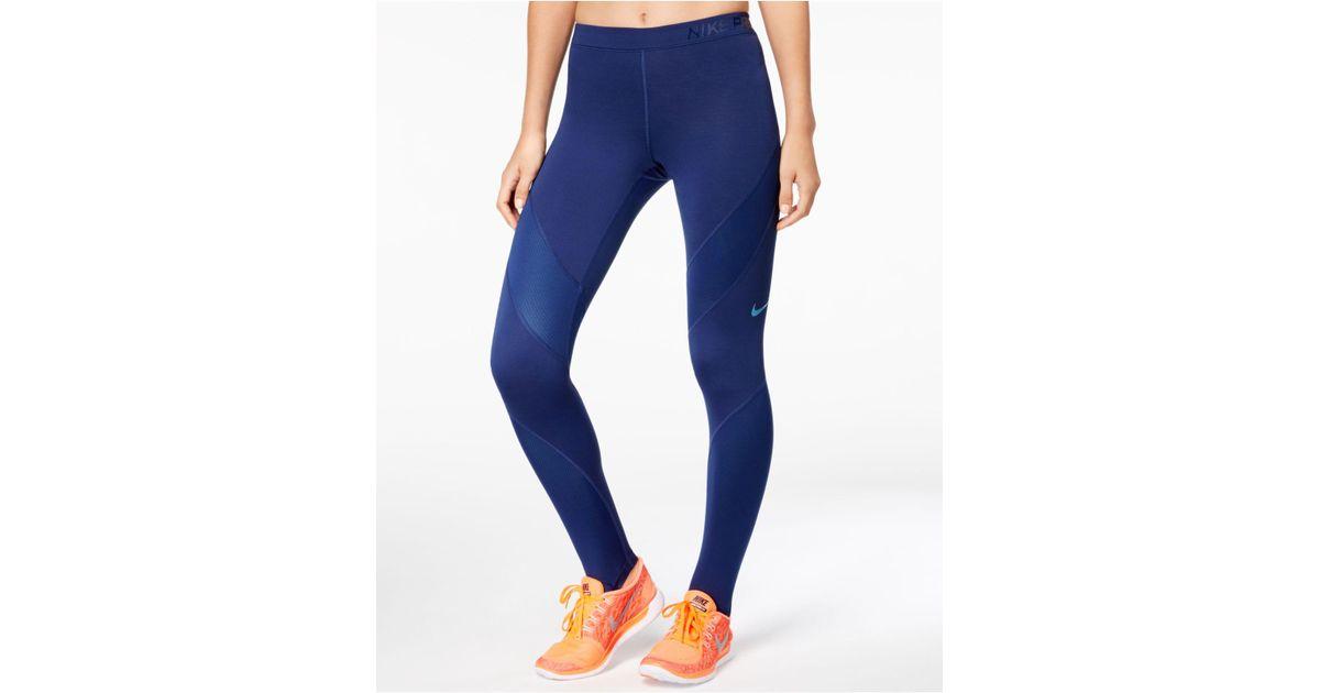 b96457e5d763a Nike Pro Hyperwarm Leggings in Blue - Lyst