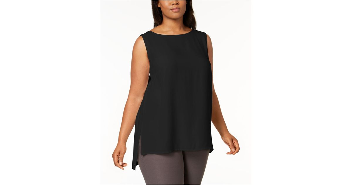 09ff3473f Lyst - Eileen Fisher Plus Size System Silk High-low Tunic in Black