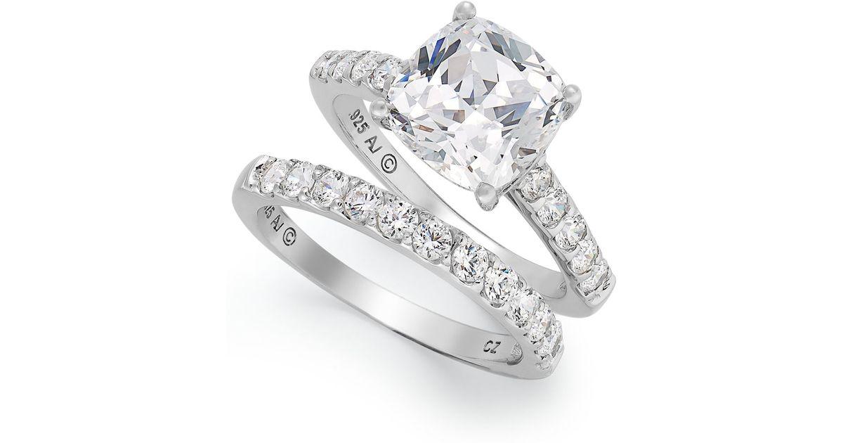 Arabella Sterling Silver Ring Set Swarovski Zirconia Bridal Ring And Band Se