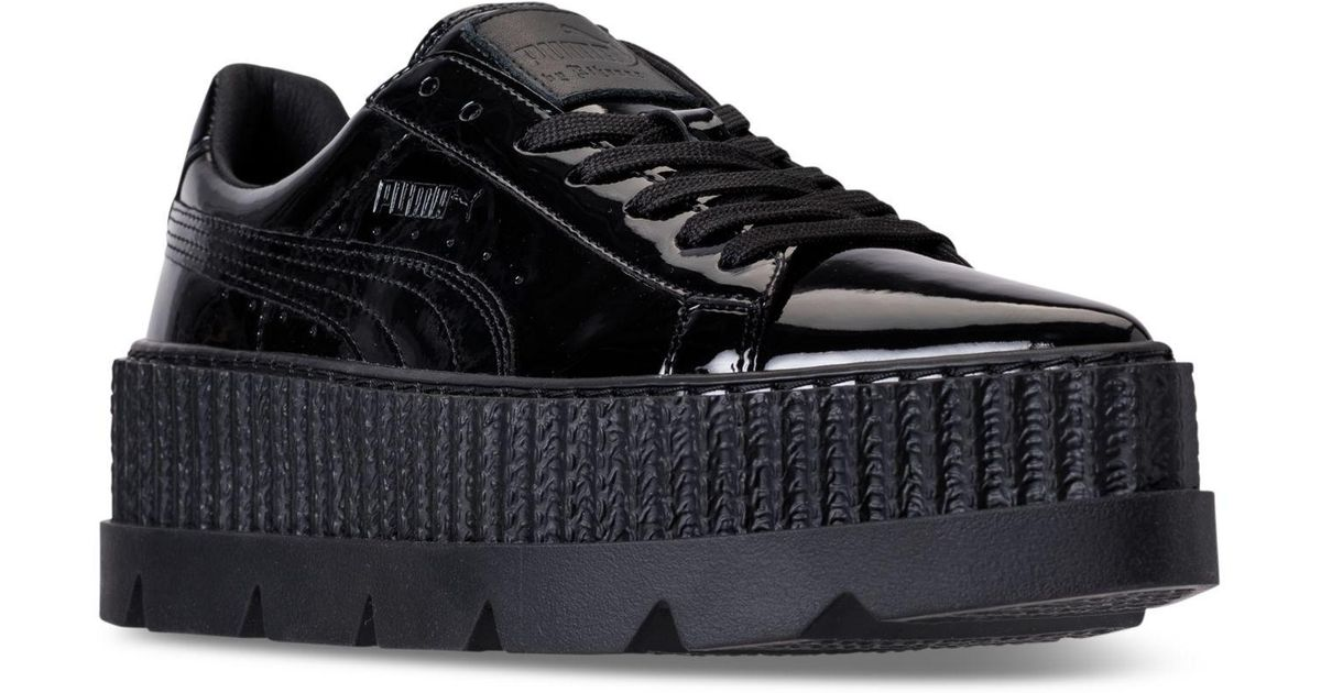 9ef399fbe21c Lyst - PUMA Women s Fenty X Rihanna Pointy Creeper Patent Casual Sneakers  From Finish Line in Black
