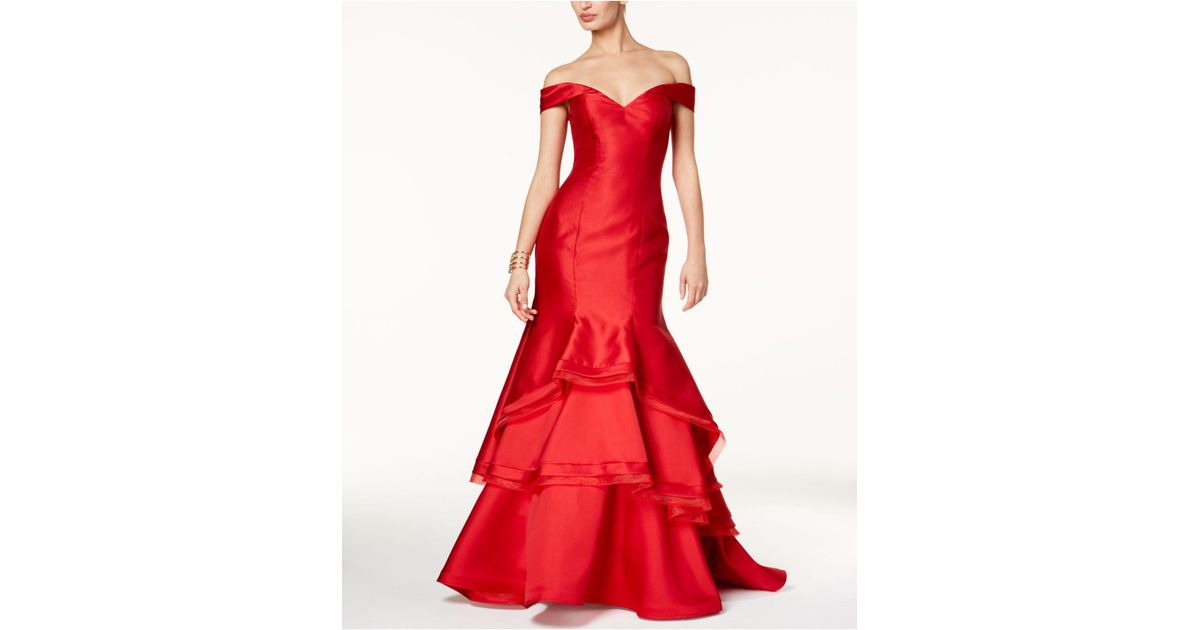 Lyst - Xscape Ruffled Off-the-shoulder Gown in Red
