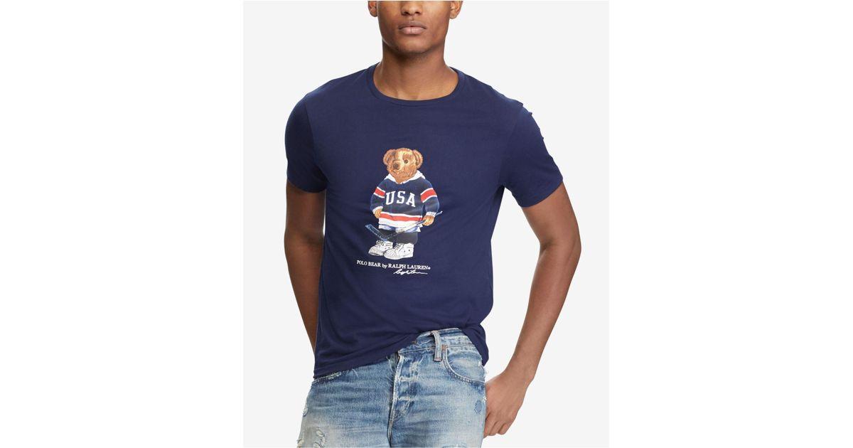 132d98413 Polo Ralph Lauren Men s Custom Slim Fit Polo Bear T-shirt in Blue for Men -  Lyst