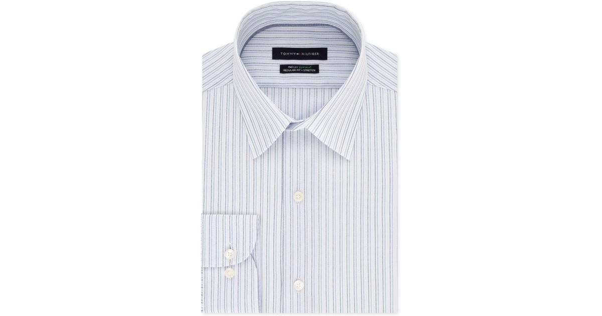a32c341a6886 Tommy Hilfiger Regular-fit Th Flex Non-iron Supima Stretch Stripe Dress  Shirt in Blue for Men - Lyst
