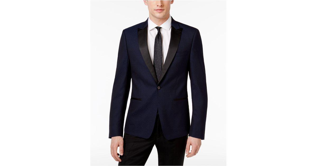 2dc7a55367a Calvin Klein Men's Slim-fit Navy Jacquard Dinner Jacket in Blue for Men -  Lyst