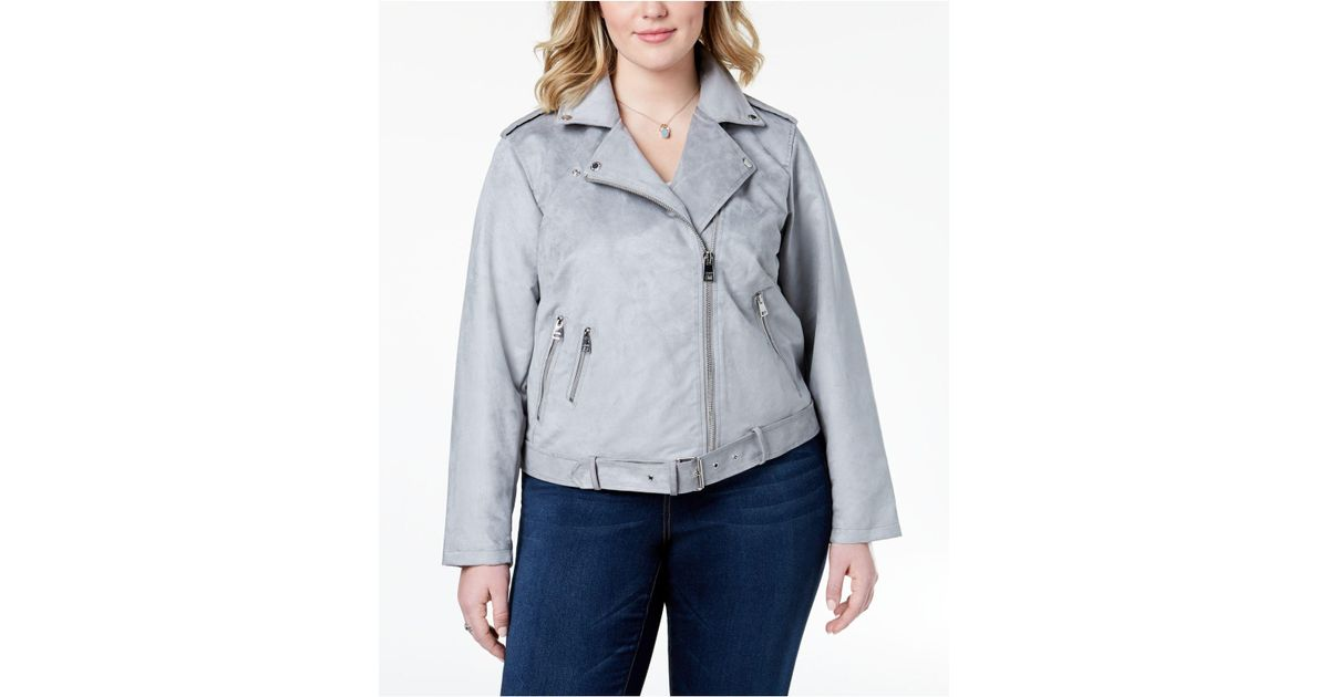 ca10a456740 Lyst - Levi s ® Plus Size Faux-suede Belted Moto Jacket in Gray