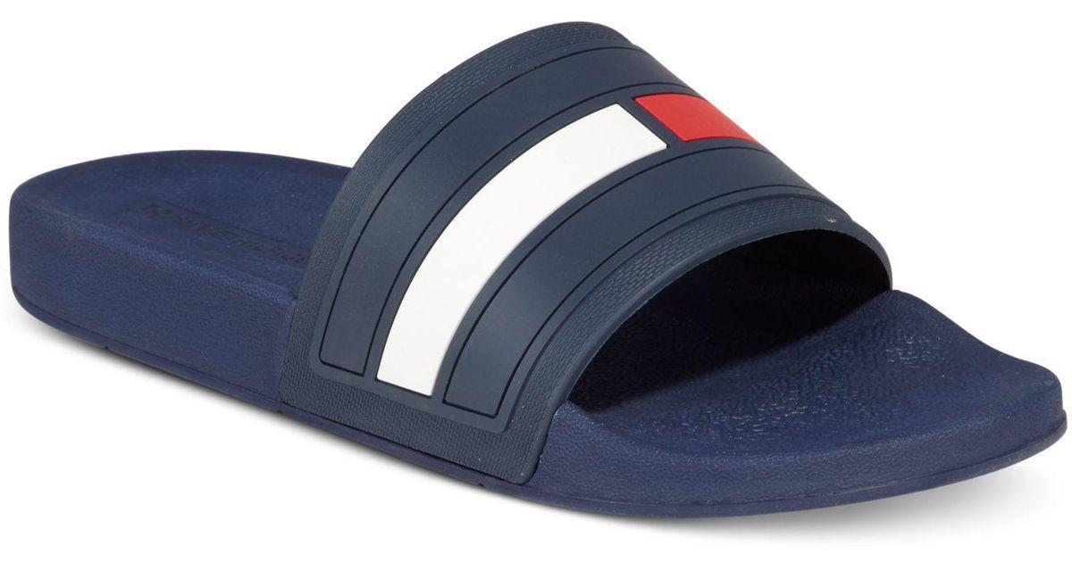 f035a7f50998e2 Lyst - Tommy Hilfiger Men s Elwood Slide Sandals in Blue for Men