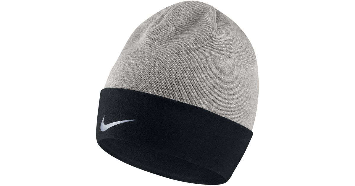 Lyst - Nike Cuffed Dri-fit Run Beanie in Gray for Men 8471e4b483e
