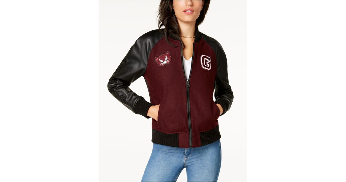 6524038d6 Lyst - Guess Faux-leather-sleeve Bomber Jacket
