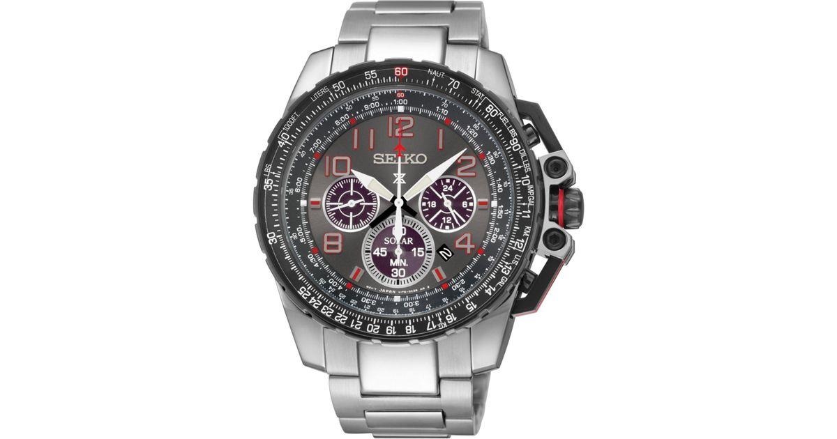 1b0c6298a Seiko Men's Prospex Aviator Solar Chronograph Stainless Steel Bracelet Watch  44mm Ssc315 in Gray for Men - Lyst