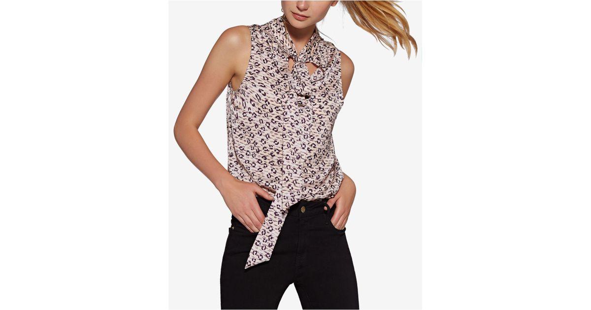 25b1986fe5d5 Avec Les Filles Leopard-print Tie-neck Top in Pink - Lyst