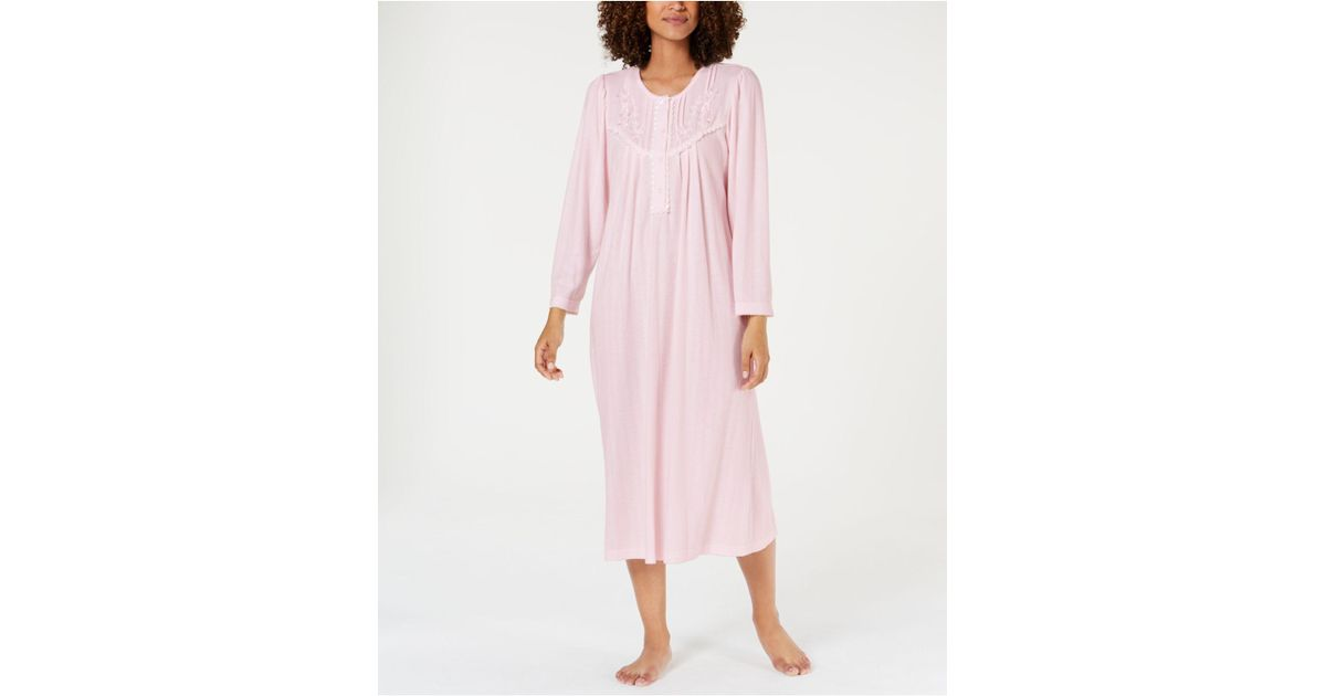 d39996835 Lyst - Miss Elaine Pointelle Knit Nightgown in Pink