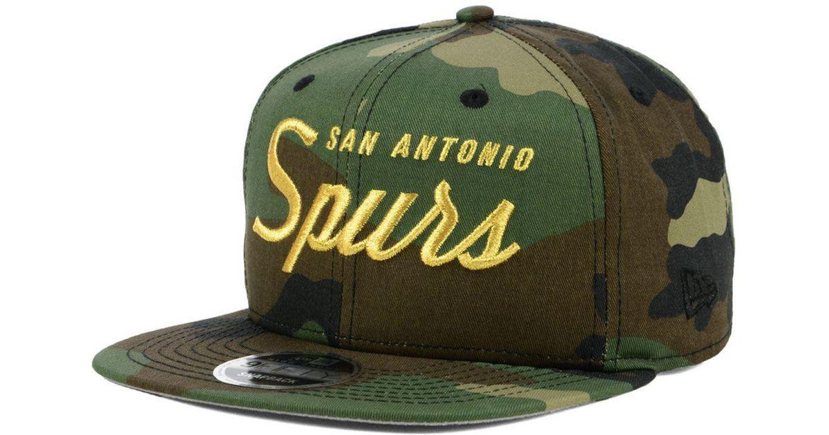 new style f2ad9 abb7a KTZ San Antonio Spurs Classic Script 9fifty Snapback Cap in Green for Men -  Lyst