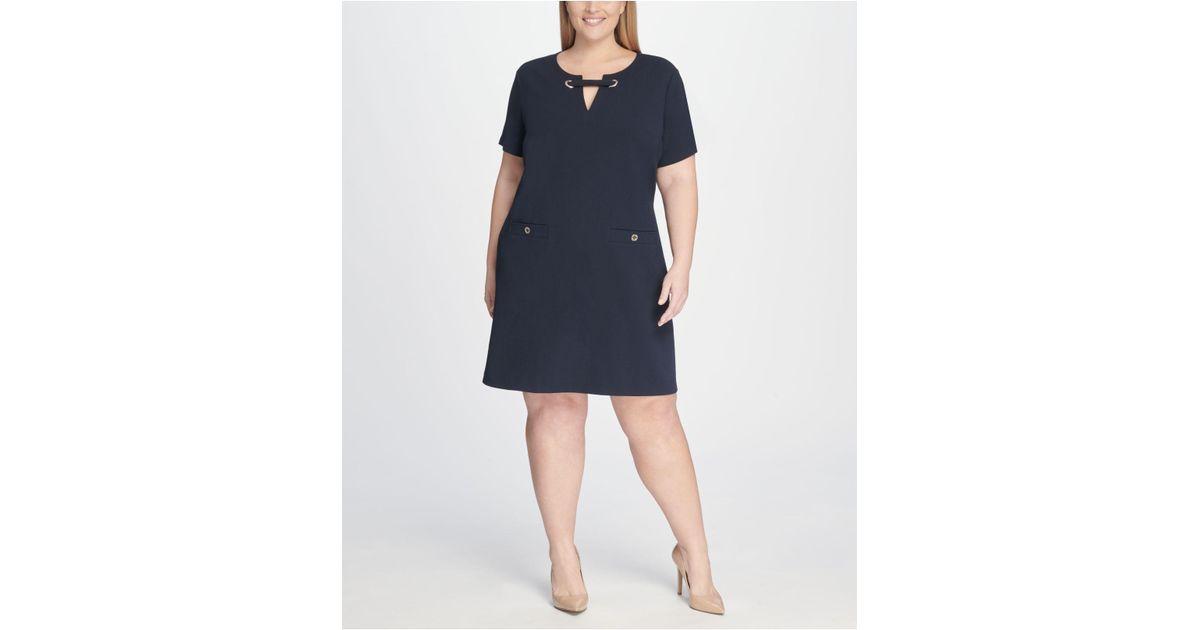 b1089fdf67c Tommy Hilfiger Plus Size Scuba Crepe Pocket Shift Dress in Blue - Save 53%  - Lyst