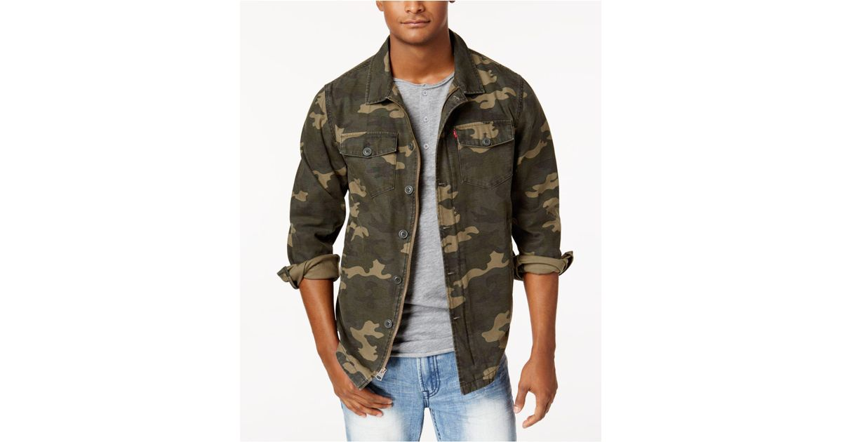 Lyst - Levi s Men s Camouflage Shirt Jacket in Green for Men ce98330a5d1