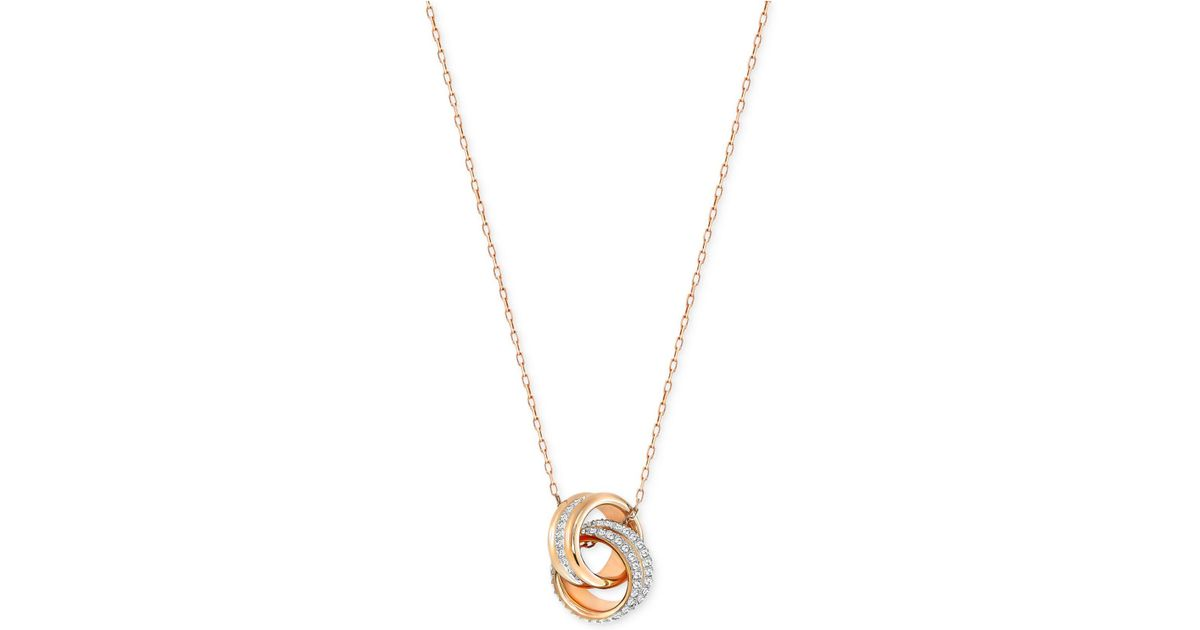Lyst - Swarovski Double Ring Pavé Pendant Necklace in Metallic 0c62559403
