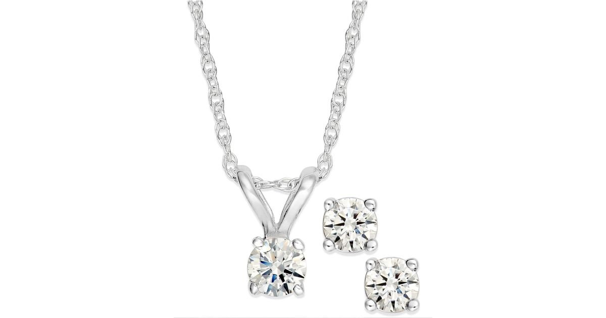 Fine Jewelry Womens 1 1/5 CT. T.W. White Cubic Zirconia 10K Gold Pendant Necklace SM3RjYs