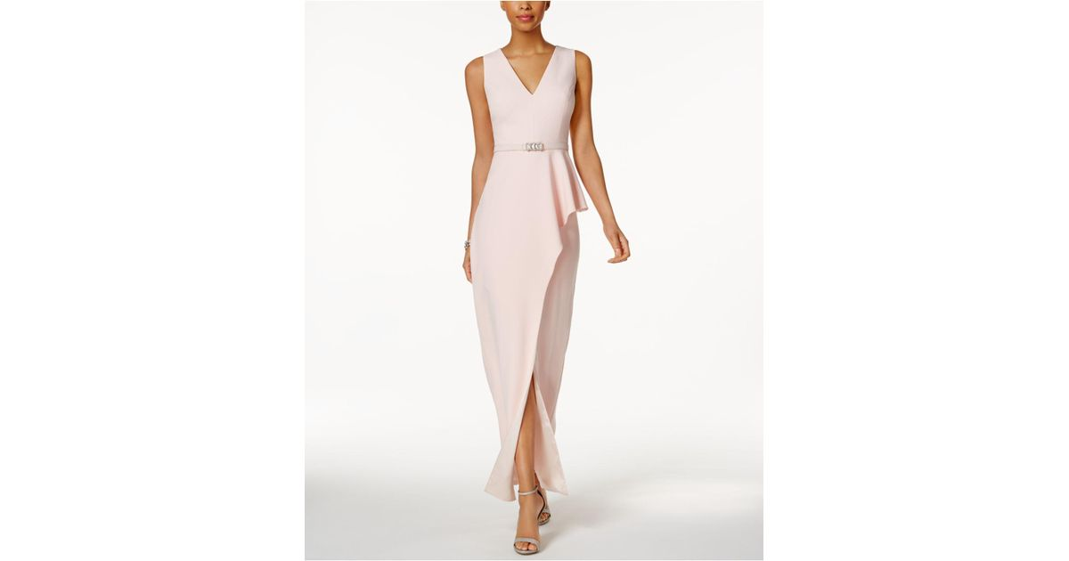 Lyst - Vince Camuto Belted Asymmetrical Gown in Pink