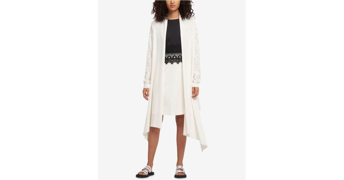 1db27188d9 Lyst - DKNY Open-front High-low Cozy Cardigan in White