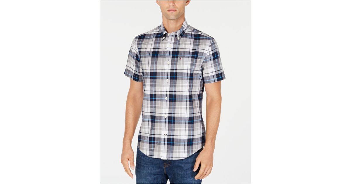 6b54b213 Tommy Hilfiger Grimes Plaid Shirt, Created For Macy's in Blue for Men - Lyst