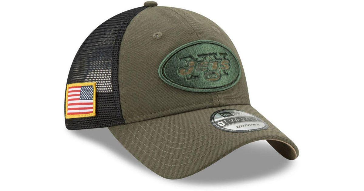 98942296a KTZ New York Jets Camo Service Patch 9twenty Trucker Cap in Green for Men -  Lyst