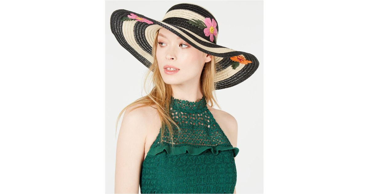 5bd71be56a6b16 Lyst - Betsey Johnson Floral Bliss Floppy Hat in Black