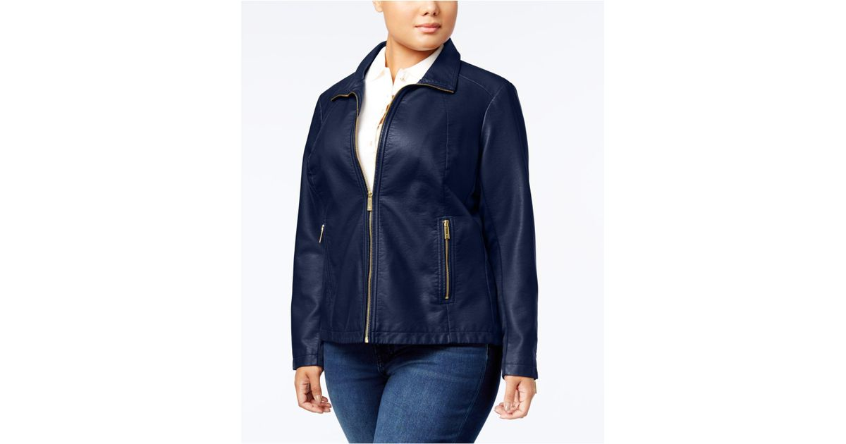 b7648c10e34 Lyst - Kenneth Cole Plus Size Knit-sleeve Faux-leather Jacket in Blue
