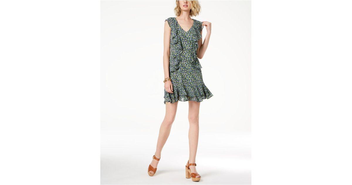 5de3849ad151f Michael Kors - Green Michael Printed Ruffled Dress