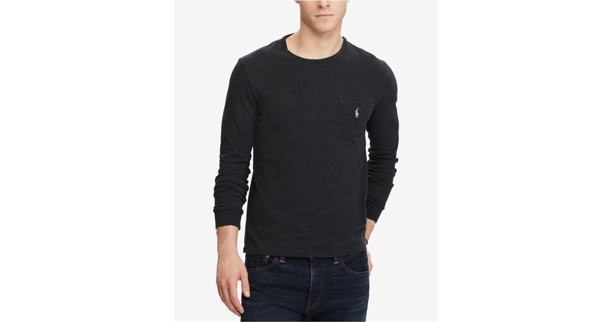 1801ea3ac ... discount code for lyst polo ralph lauren mens custom slim fit long  sleeve cotton t shirt