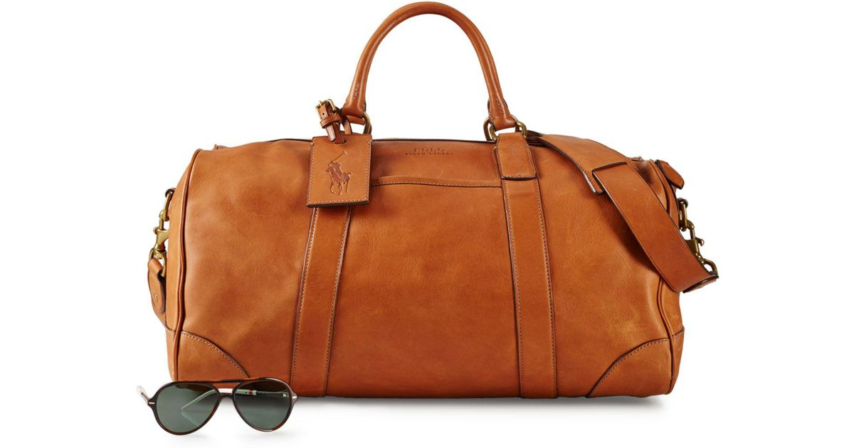 Lyst - Polo Ralph Lauren Leather Duffel Bag in Brown for Men 107788f4e2887