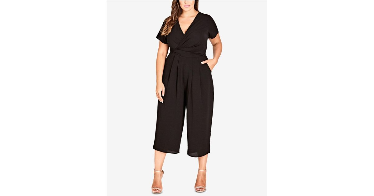 c2f5be49585 Lyst - City Chic Trendy Plus Size Surplice Neckline Cropped Jumpsuit in  Black