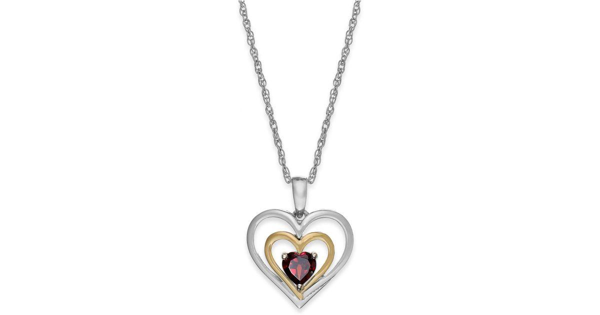 Lyst macys garnet heart pendant necklace in 14k gold and sterling lyst macys garnet heart pendant necklace in 14k gold and sterling silver 58 ct tw in metallic aloadofball Gallery