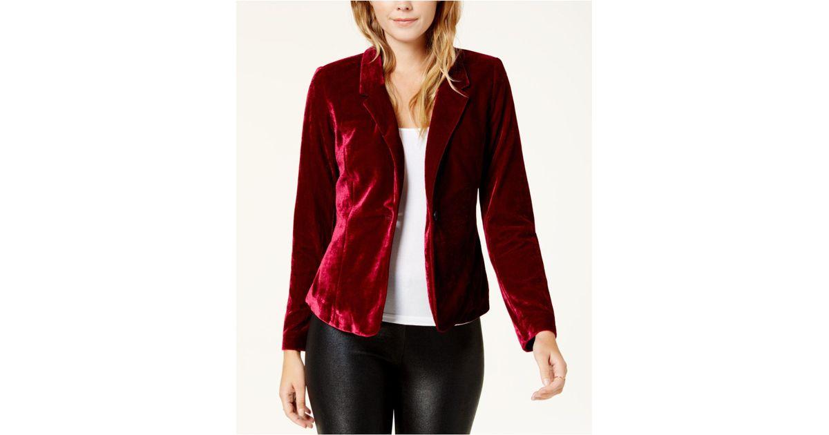 68096d6b3c1 Lyst - Kensie Long-sleeve Velvet Blazer in Red