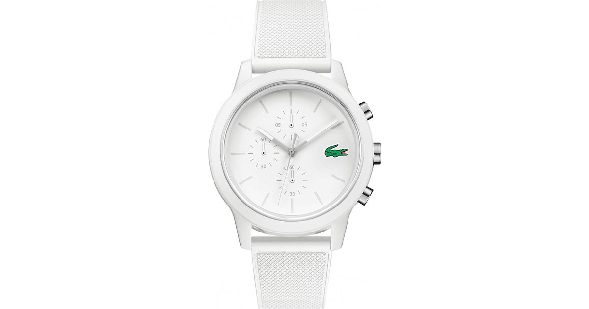 Lyst - Lacoste Men's White Chronograph Silicone Strap Watch in White for Men