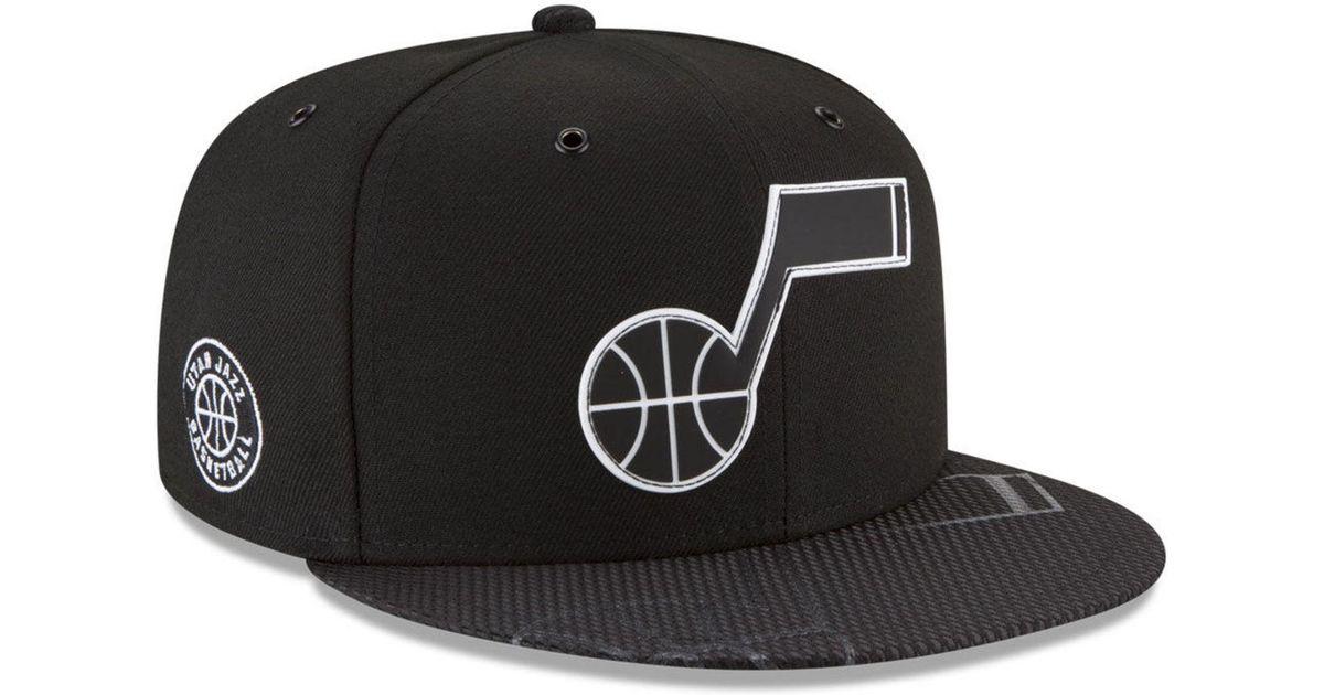9f80860a KTZ Utah Jazz Back 1/2 Series 9fifty Snapback Cap in Black for Men - Lyst
