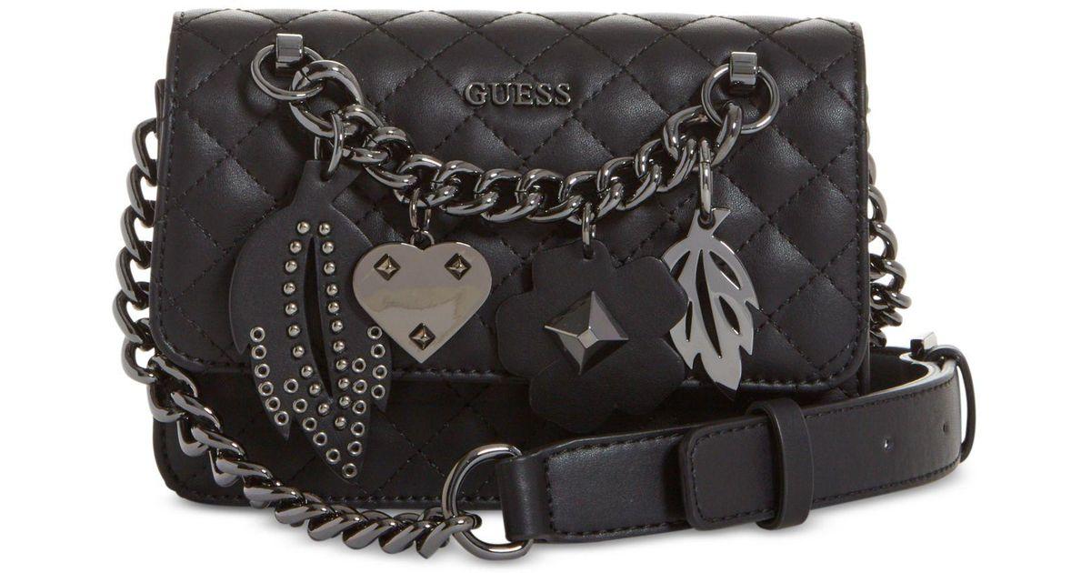 ac9c75f312 Lyst - Guess Stassie Mini Flap Crossbody in Black